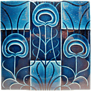 Blue Ceramic Pottery Tile Art Deco Style England - Red Tag Sale Item