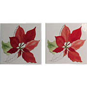 Poinsettia Trivets Or Tiles (2) By Mary Lou Goertzen Portugal