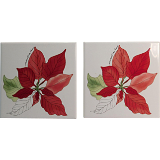 Poinsettia Trivets Or Tiles (2) By Mary Lou Goertzen Portugal