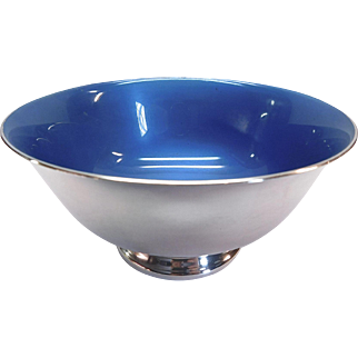 Reed and Barton Silver-plate and Blue Enamel Bowl