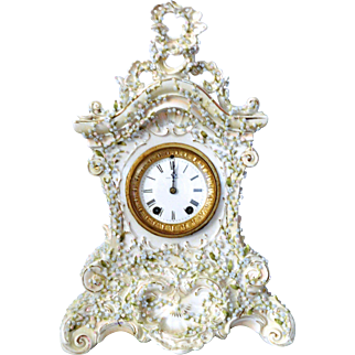 Seth Thomas Clock With Heavy White  French Style Porcelain Box 1879 circa