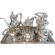 6 Pc Victorian Sterling Silver  Meriden Britannia Tea Set, & Tray