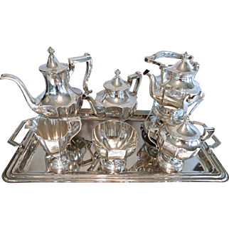 6 Piece Victorian Meriden Britannia Sterling Tea Set, Plus Tray