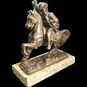 Pot Metal Sculpture of General Custer Riding Horse