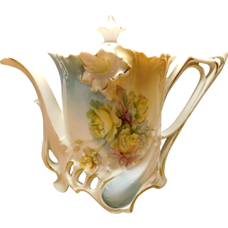 Porcelain Tea Pot with Floral Design