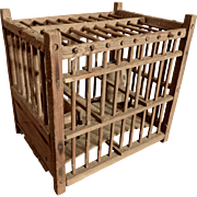 Coal Miner Bird Cage Wood with Clay Pot