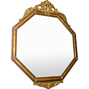 Octagon Shape Mirror Wood With Gold Gilt