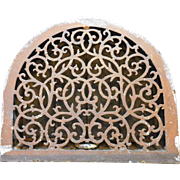 1849 Cast Iron Arch Furnace Register Vent With Louvers