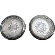 Two Silver-plate and Glass Coasters By Leonard Italy