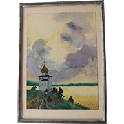 Miniature Water Color on Paper Tallin, Estonia 1989 Signed