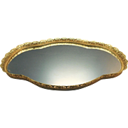 Cartouche Shape Vanity Mirror Tray with Gold Gild