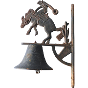 Cast Iron Outdoor Bell With Rodeo Horse and Rider