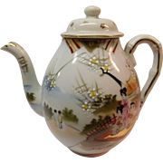 Porcelain Tea Pot with Oriental Moriage and Geisha Girls