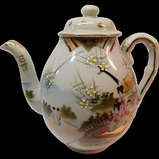 Porcelain Tea Pot with Oriental Moriage and Geisha Girls