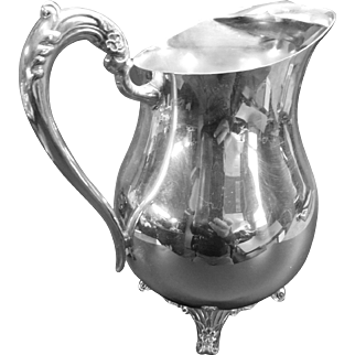 Silver-Plate Ice Pitcher with Lip and Footed Bottom by Rogers Silver Co