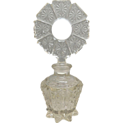 Perfume Bottle Pressed Glass with Fancy Ring Top