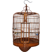 Bamboo Bird Cage With Perch and 3 Porcelain Pots