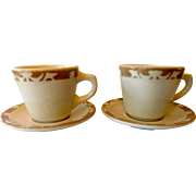 "Syracuse China Restaurant Ware Coffee Cups and Sauces (2) ""Nutmeg"""