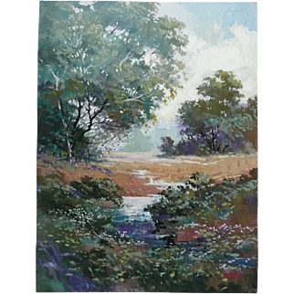 Colorful Serigraph Landscape Print Signed by Johnson