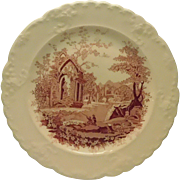 English Abbey Red Transferware Plate
