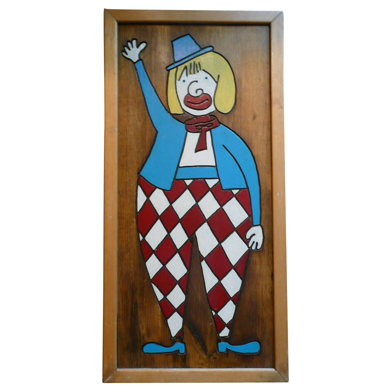 Whimsical Harlequin Clown Wood Carved and Hand Painted