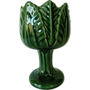 Vintage Green Majolica Pedestal Cabbage Leaf Vase Marked