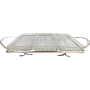 Vintage Prescut Glass Relish Tray with Silverplate Holder