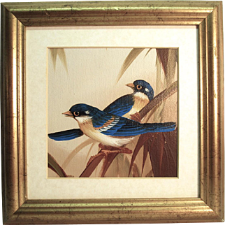 Small Oil on Canvas Sheet Painting of Birds Unsigned