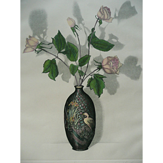 Etching of Pink Roses Signed Limited Edition