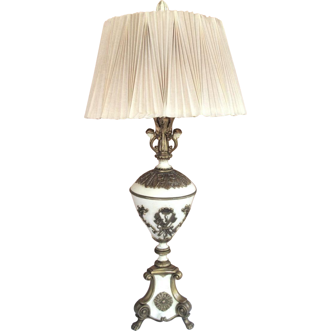 Grecian Style Lamp Figural Heads With Original Shade From