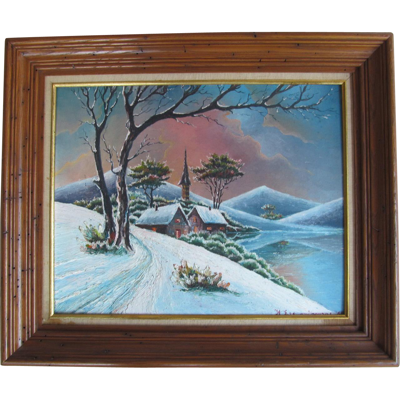 oil painting on canvas board winter scene art landscape