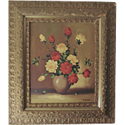 Roses Still Life Oil Painting On Canvas Floral Life By F. Biliotti