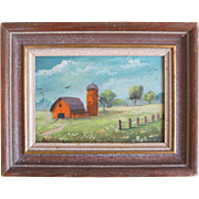 Miniature Oil Painting On Board Signed Landscape