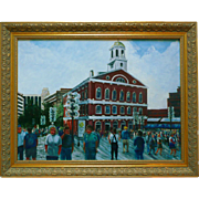Faneuil Hall Painting Oil On Canvas Plein Air Cityscape Signed