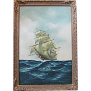 Oil Painting On Canvas Clipper Ship Art On The Sea Signed