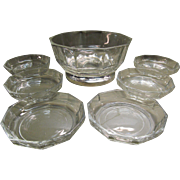 Cut Glass Bowl With Silverplate Base Made In Italy & 6 Matching Salad Dishes