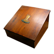 Vintage Cedar Lap Desk or Letter Box With Junket Ship Emblem