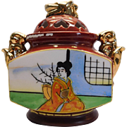 Dainty Porcelain Sugar Bowl Made In Japan Geisha Girl With Gold Gilding