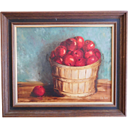 Oil Painting on Canvas Still Life Apples In Basket Signed Ruth Lewis