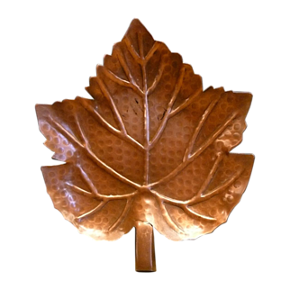 Solid Copper Trinket Dish Hand Wrought Leaf