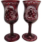 Vintage Bohemian Cut To Clear Red Cordial Glasses