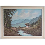 Painting Oil On Canvas Mountain Lanscape Art By Jansen