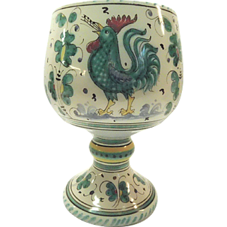 Vintage Singing Rooster Chanticleer Pottery Chalice Vase Italy