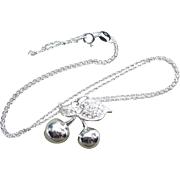 Necklace 925 sterling Silver With Clear Stones Cherries and Leaves