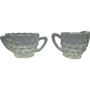 Vintage Jeanette Clear Glass Creamer And Sugar Bowl With Cube Pattern