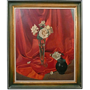 Art Oil Painting On Canvas Still Life White Roses Signed Michiels