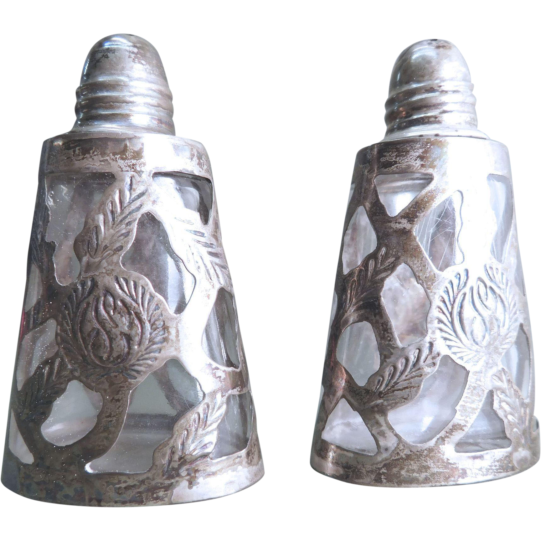Silver Overlay Glass Salt and Pepper Shakers Mexico Artgate