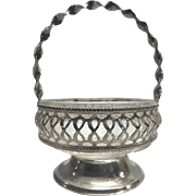 Silverplate and Glass Bride's Basket Made In England