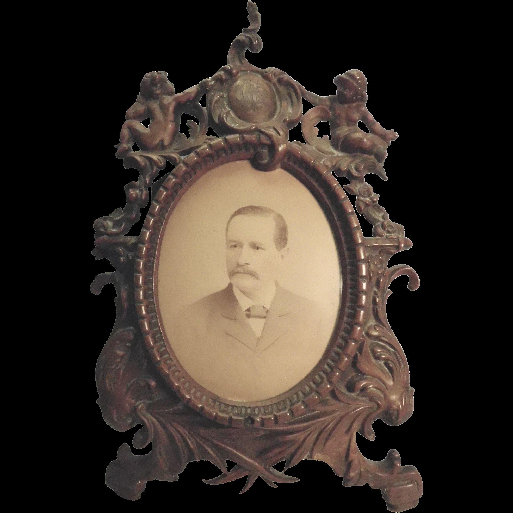 Victorian Frame Brass Bronze Wash With Cherubs And F ...