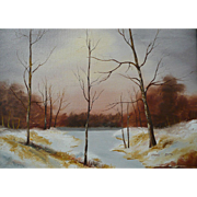 Vintage Oil On Canvas Winter Scene Signed Smith